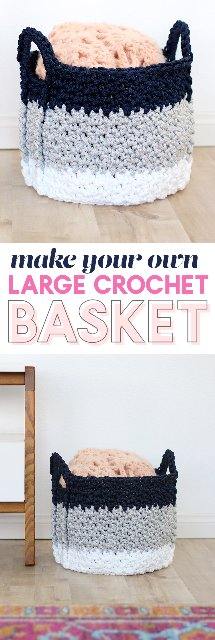 free crochet basket pattern - large crochet basket with handles