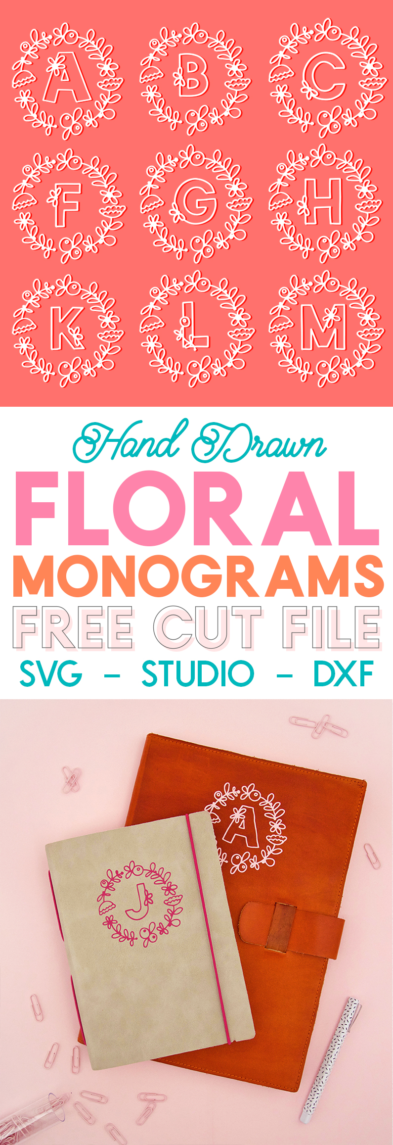 free floral monograms - svg cut files for silhouette or cricut cutting machines