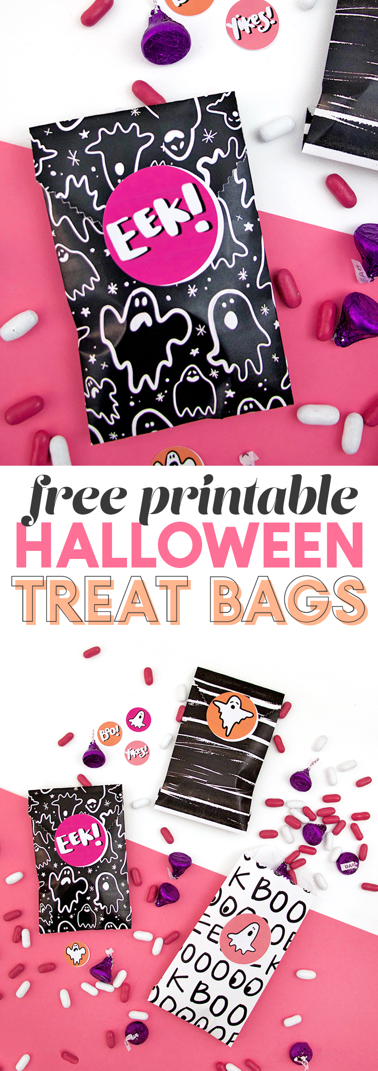 make your own halloween treat bags - free paper and sticker downloads - diy printable treat bags