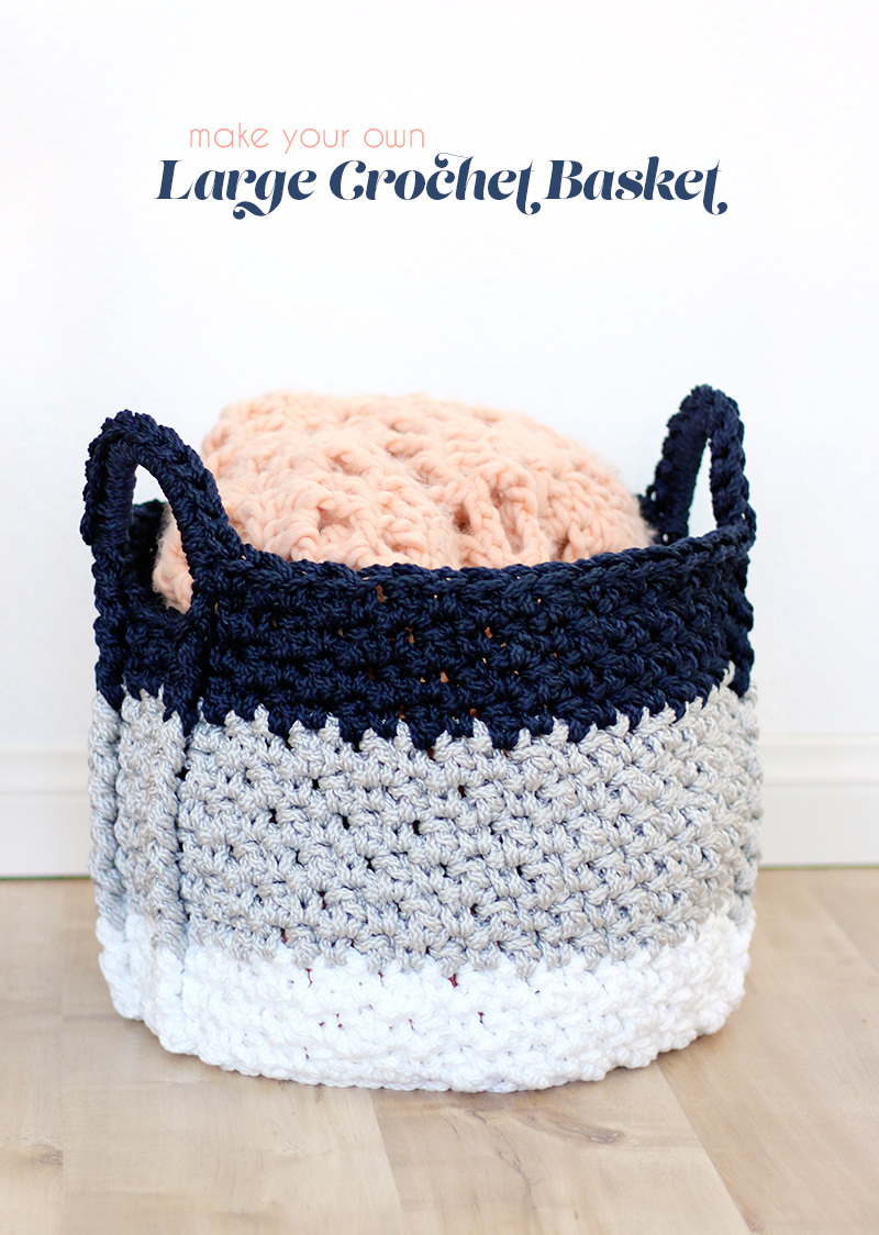 Large Crochet Basket with Handles - Free Crochet Pattern