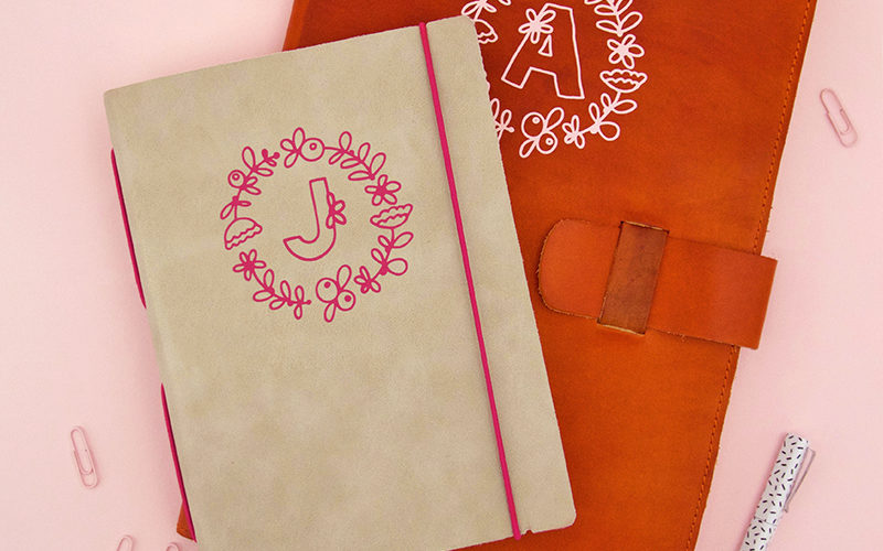 How to Apply Heat Transfer Vinyl to Leather: DIY Monogram Leather Notebook