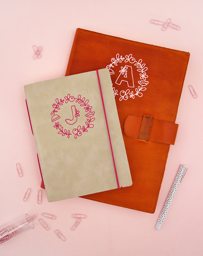 diy monogram leather notebooks - custom vinyl monograms applied to leather - free silhouette and cricut cut files