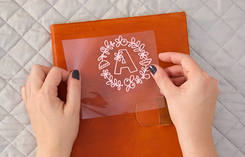 How To Apply Heat Transfer Vinyl To Leather Diy Monogram