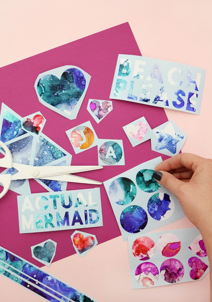 diy alcohol ink art vinyl stickers