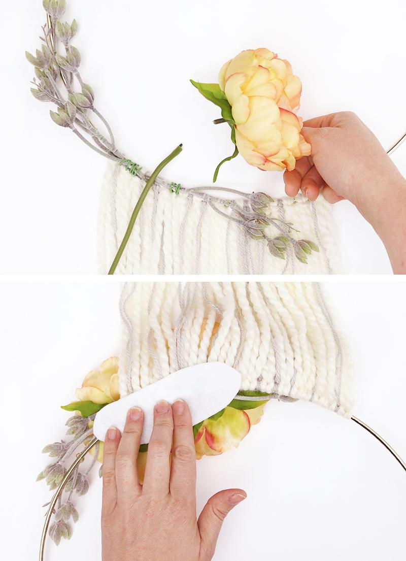attach flowers - diy modern fall wreath