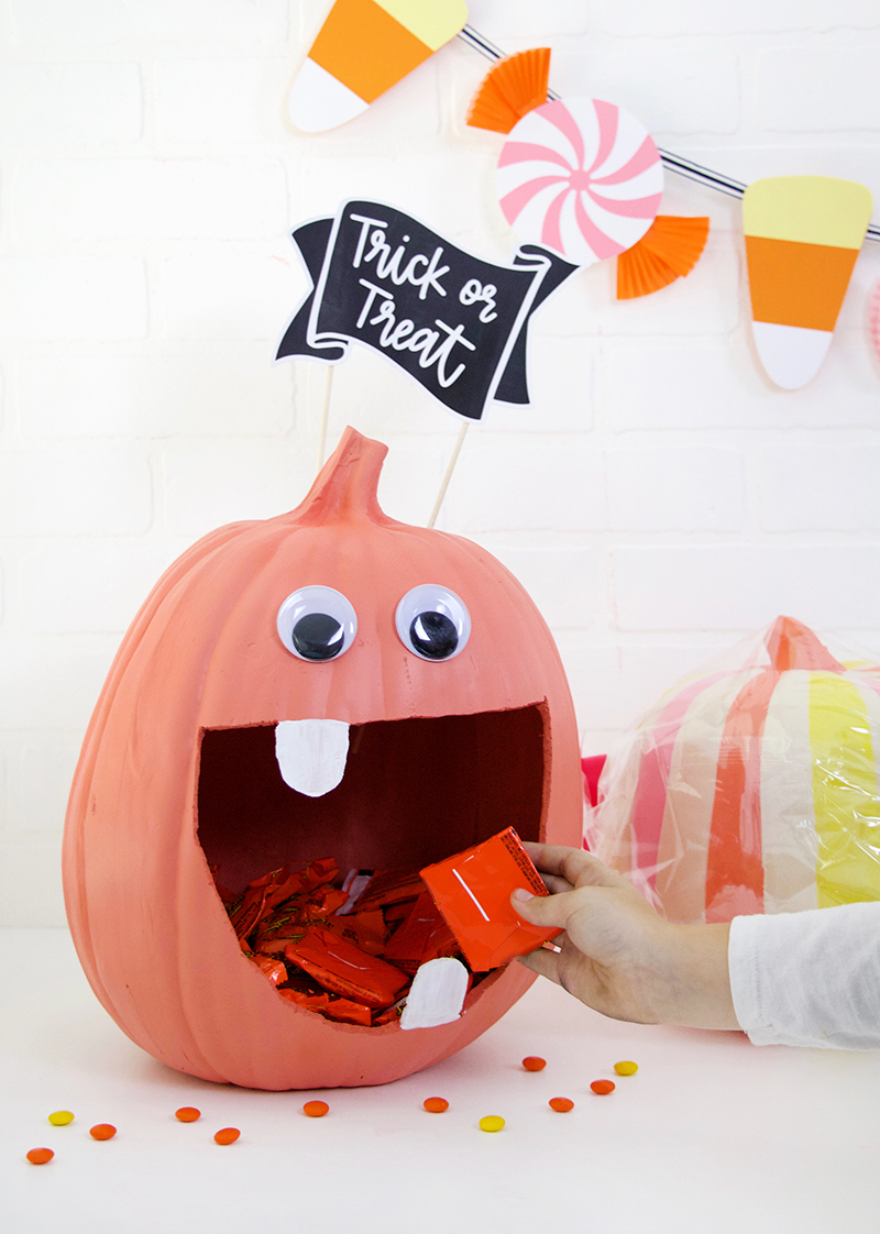 cute candy monster - how to make a diy pumpkin candy bowl - halloween decoration