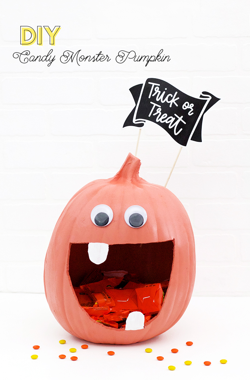 DIY candy monster pumpkin candy dish - cute halloween pumpkin idea