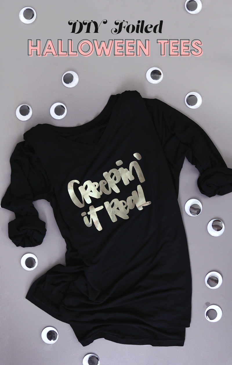 diy custom foil shirts with free halloween cut files