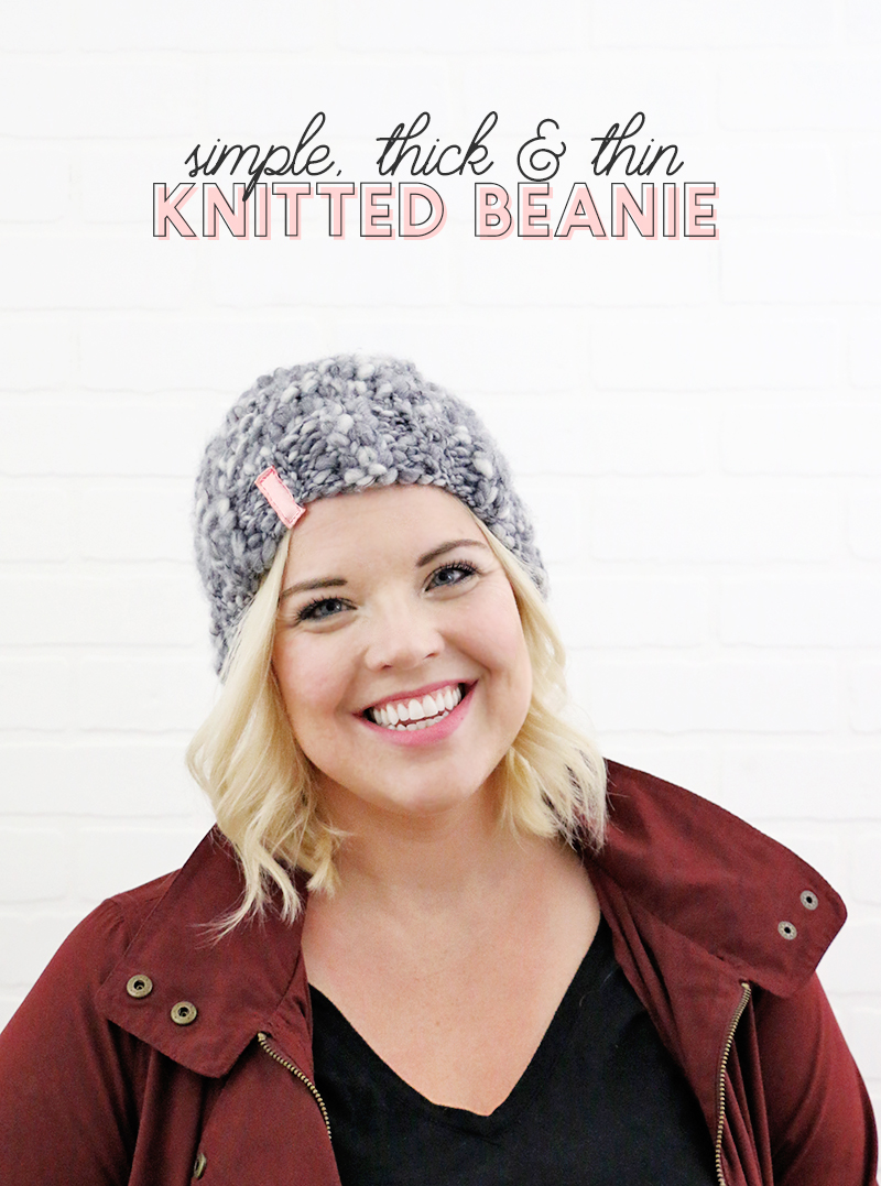 simple knitted thick and thin hat - beginner knitted beanie - how to knit a simple thick and thin hat