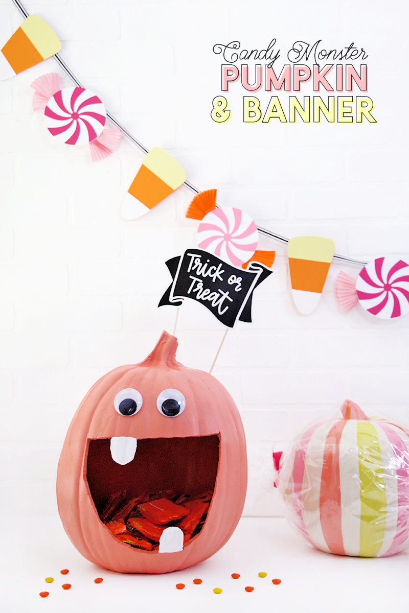 cute candy halloween decor diy pumpkin candy bowl and diy halloween candy banner