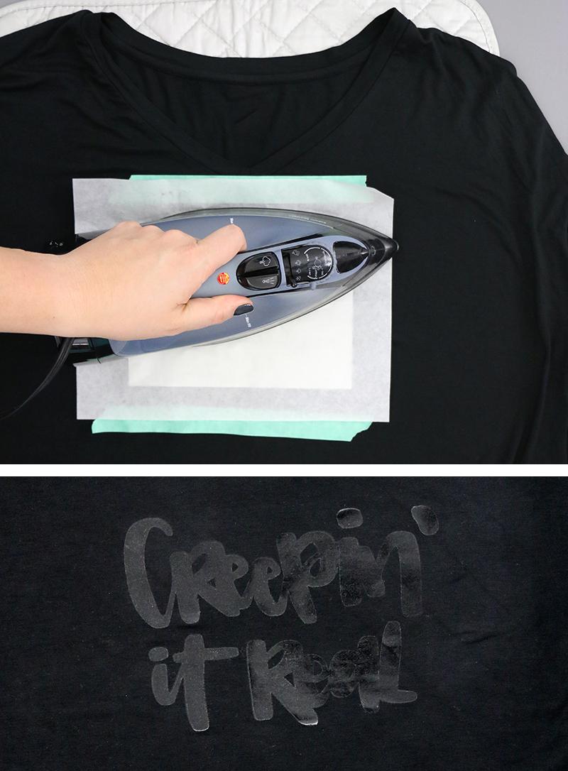 diy custom foil shirts - iron on adhesive