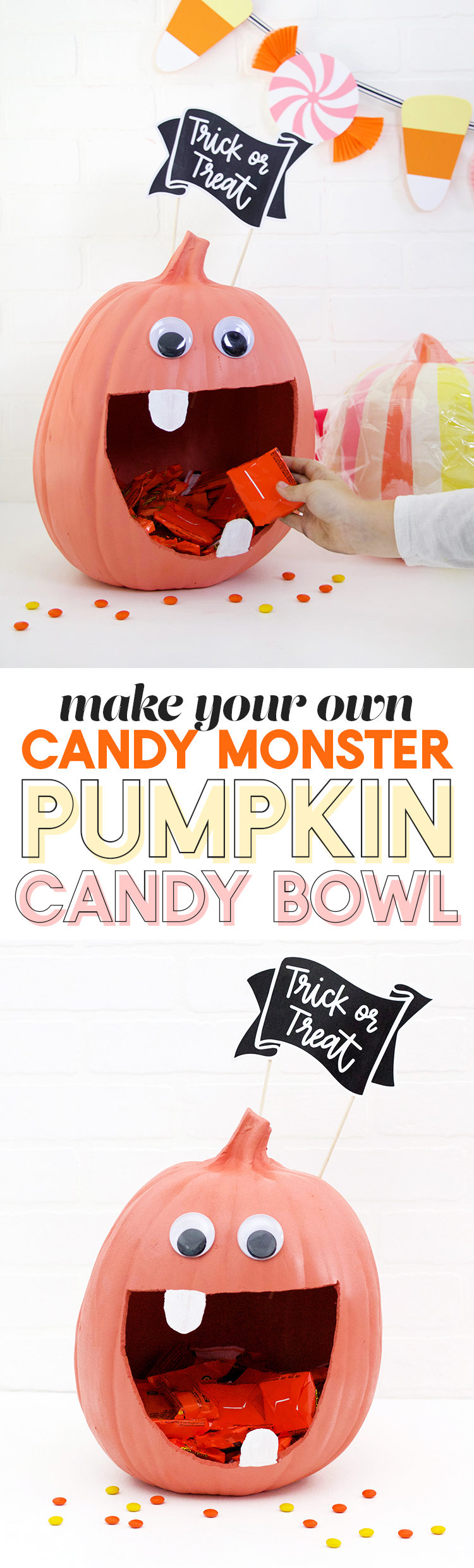 Diy pumpkin candy bowl diy halloween candy banner persia lou how to make a cute candy monster diy pumpkin candy bowl sciox Gallery