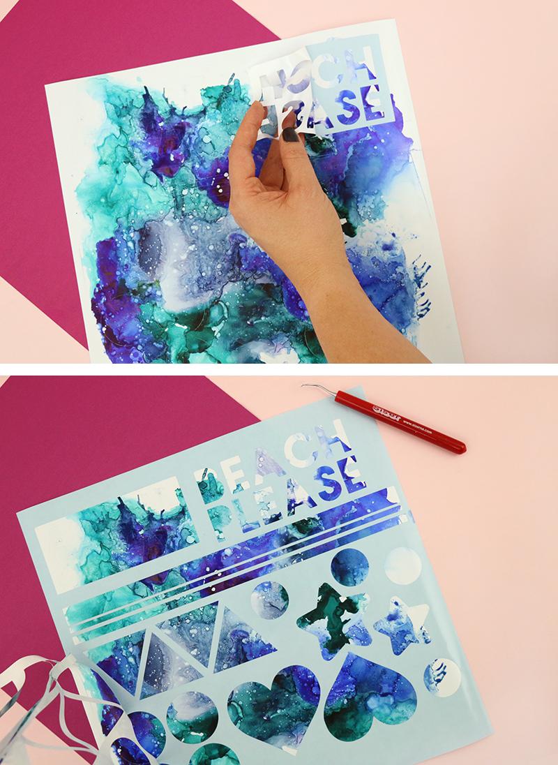 diy abstract alcohol ink art vinyl decals