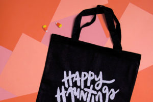 Happy Hauntings Halloween Tote with Free SVG Cut File
