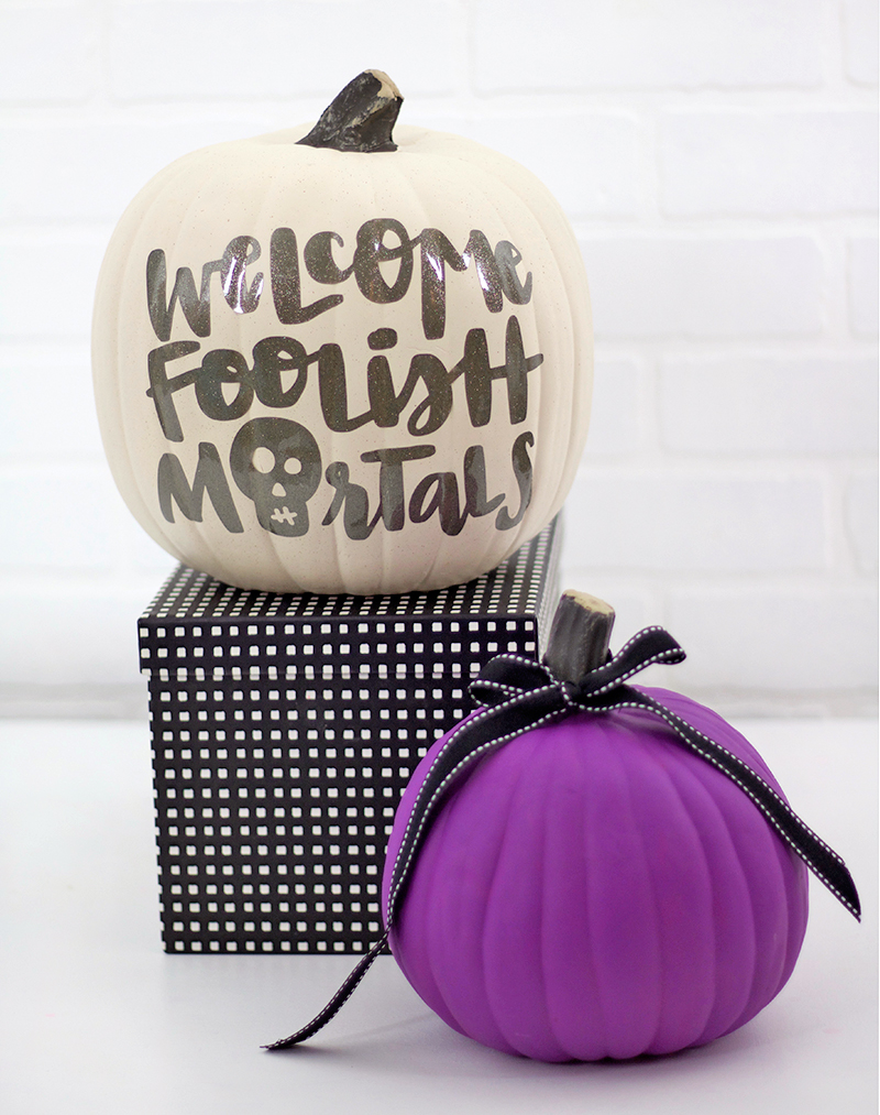 welcome foolish mortals - diy no carve pumpkin idea inspired by the haunted mansion