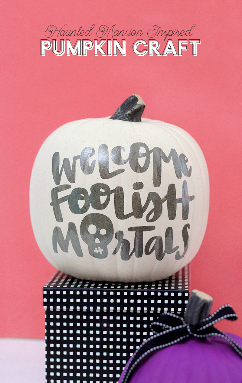 diy haunted mansion inspired craft idea - no carve pumpkin for halloween