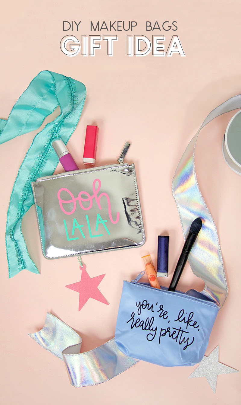 diy beauty gift ideas - make custom pouches and fill them with makeup, nail polish, and other beauty goodies for a perfect gift for girl friends, teens, and tweens