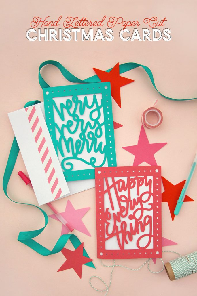Hand Lettered Paper Cut Christmas Cards at Crafts Unleashed