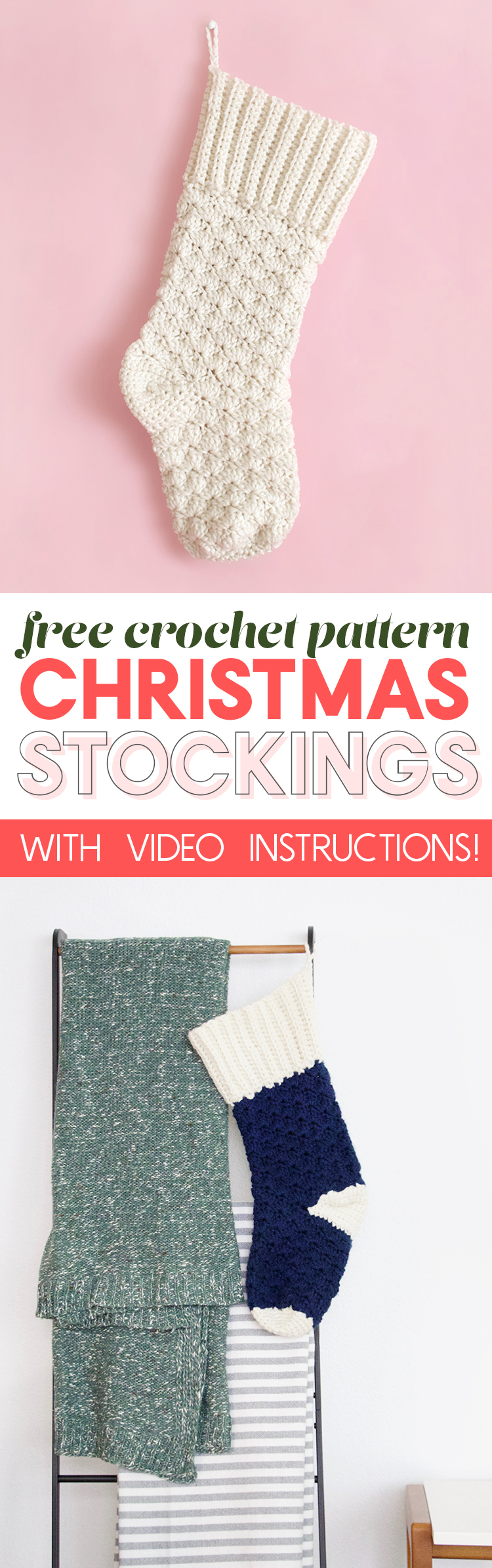 crochet christmas stocking - free pattern and video