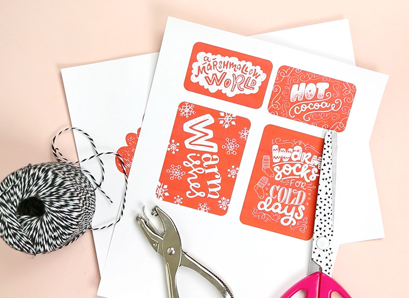 cut tags - diy christmas gift basket