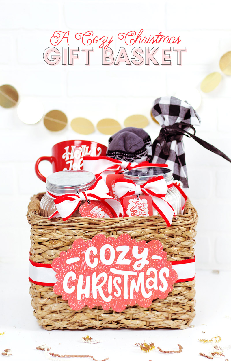 "DIY Christmas Gift Basket Idea - make your own cute ""Cozy Christmas"" gift basket with designs from Craft Bundles"