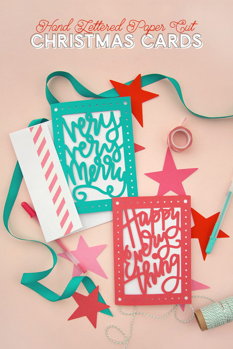 cute hand-lettered christmas card DIY - free svg cut files