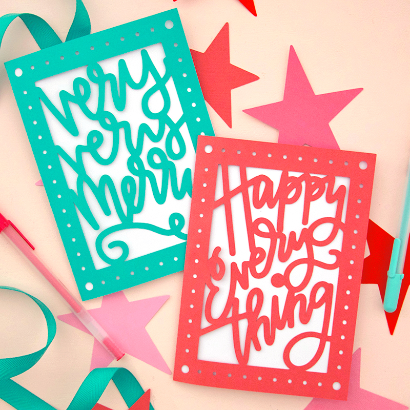 Paper Cut Christmas Card DIY – Free SVG Cut Files