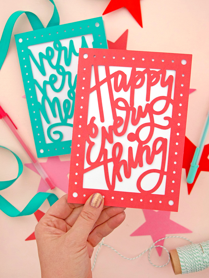DIY papercut holiday cards - happy everything