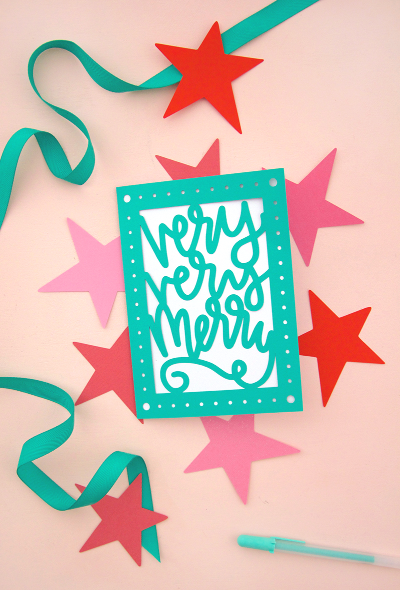 paper cut christmas card DIY - free svg cut file - make your own holiday cards with your silhouette or cricut