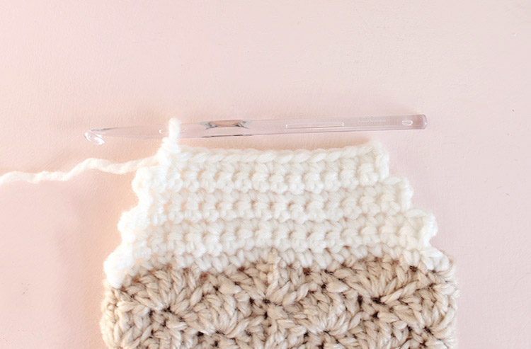crochet stocking forming the heel step two