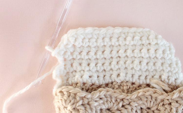 crochet stocking - forming the heel step three