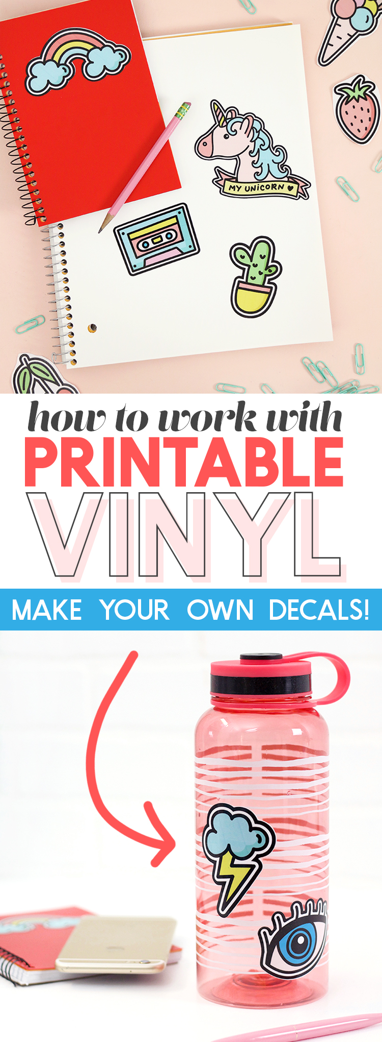 How to Work with Printable Vinyl: DIY Vinyl Stickers