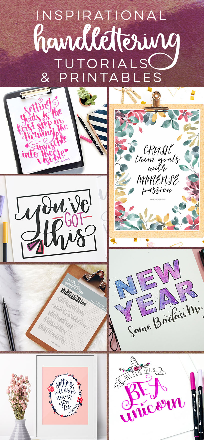 new year inspirational hand lettered printables and tutorials