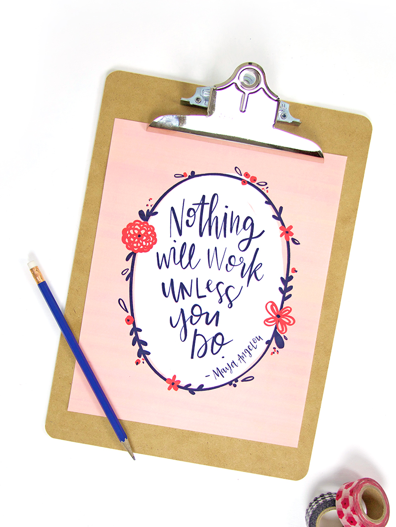 image about Free Quote Printable known as Motivational Hand Lettered Printables - Persia Lou