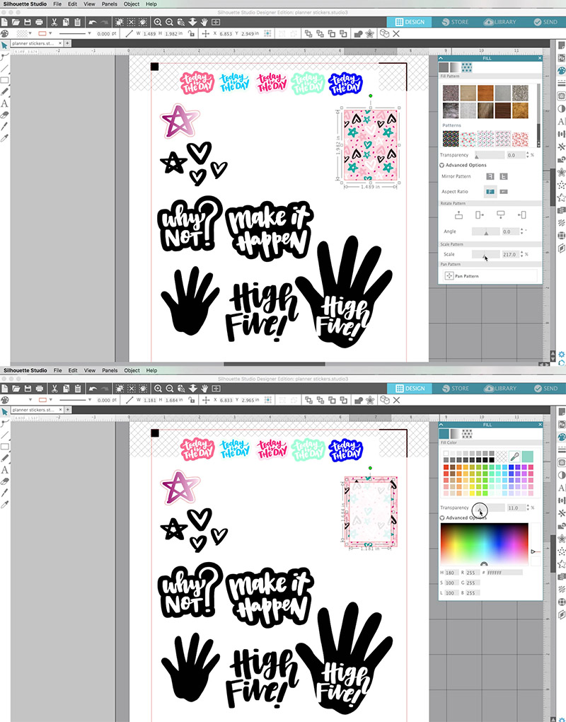 To make the sticker easier to write on create another smaller rectangle and place it on top of your patterned rectangle fill this second rectangle with