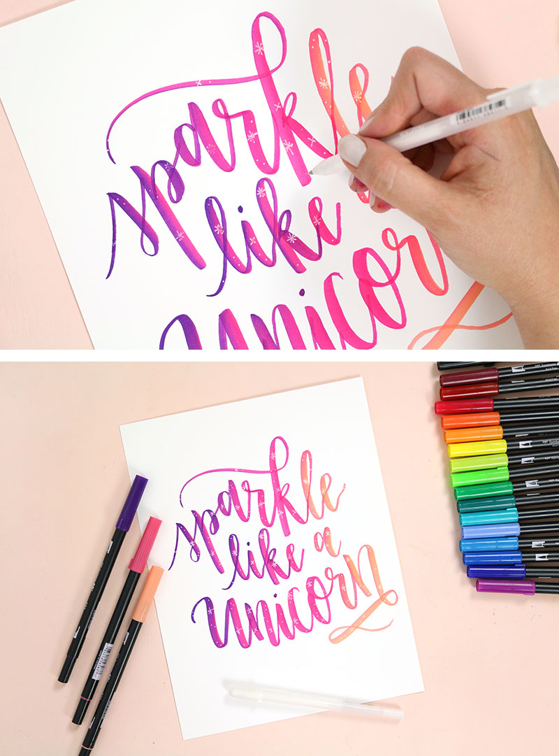add gelly roll pen details to brush lettering