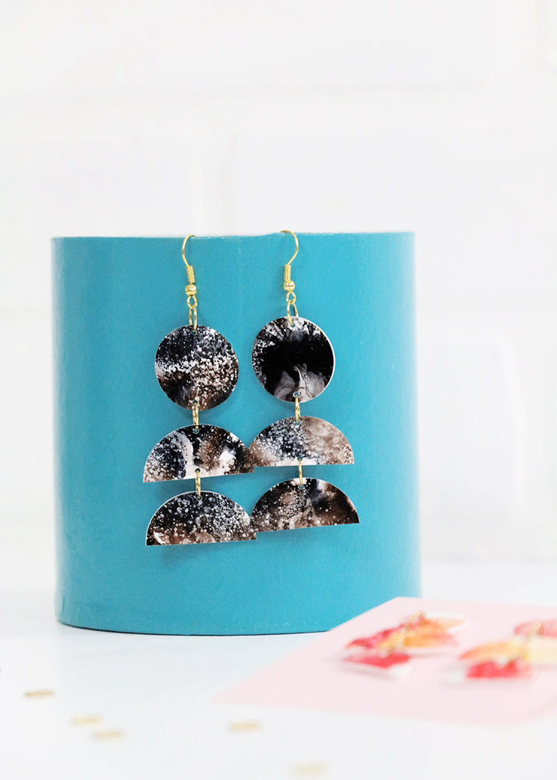 black alcohol ink diy statement earrings