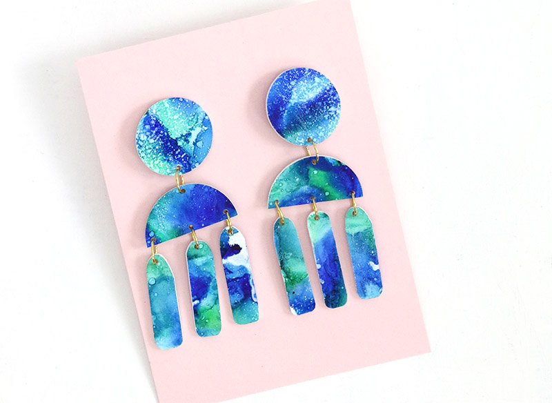 finished marbled alcohol ink shrinky dink earrings