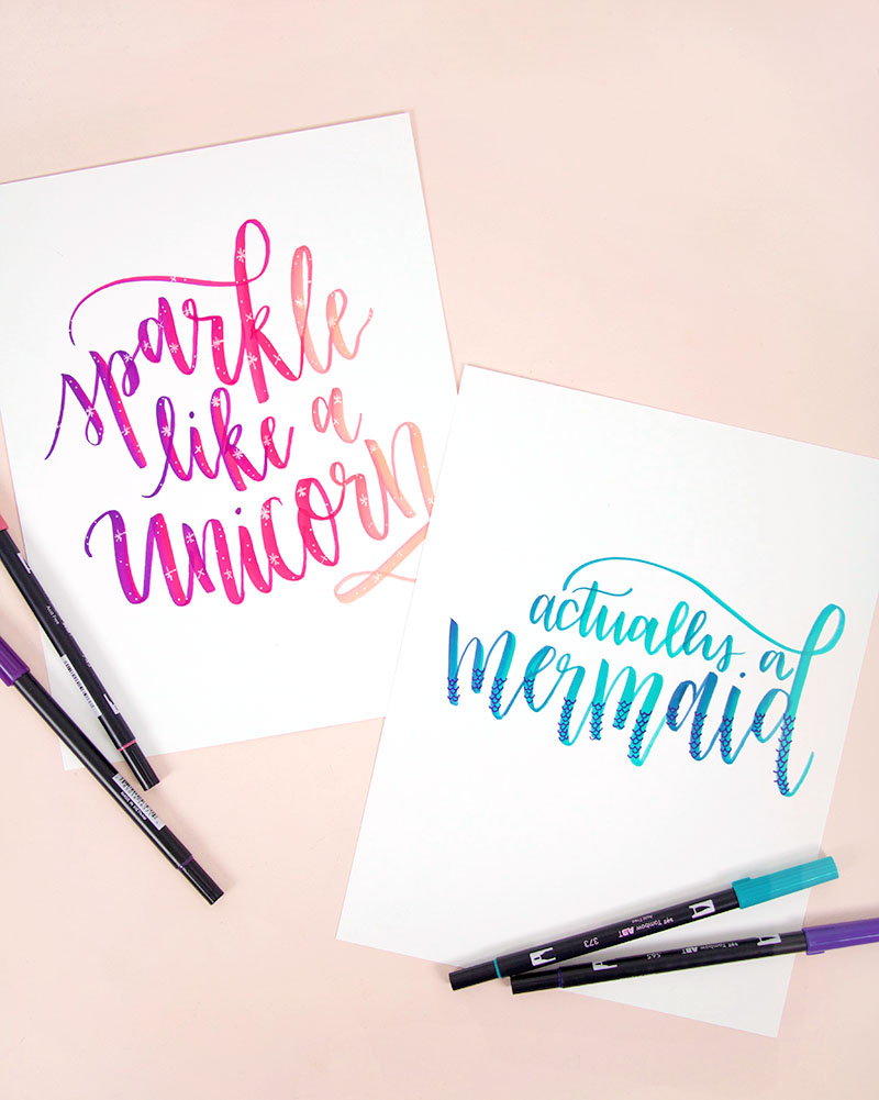 ombre brush lettering free printables