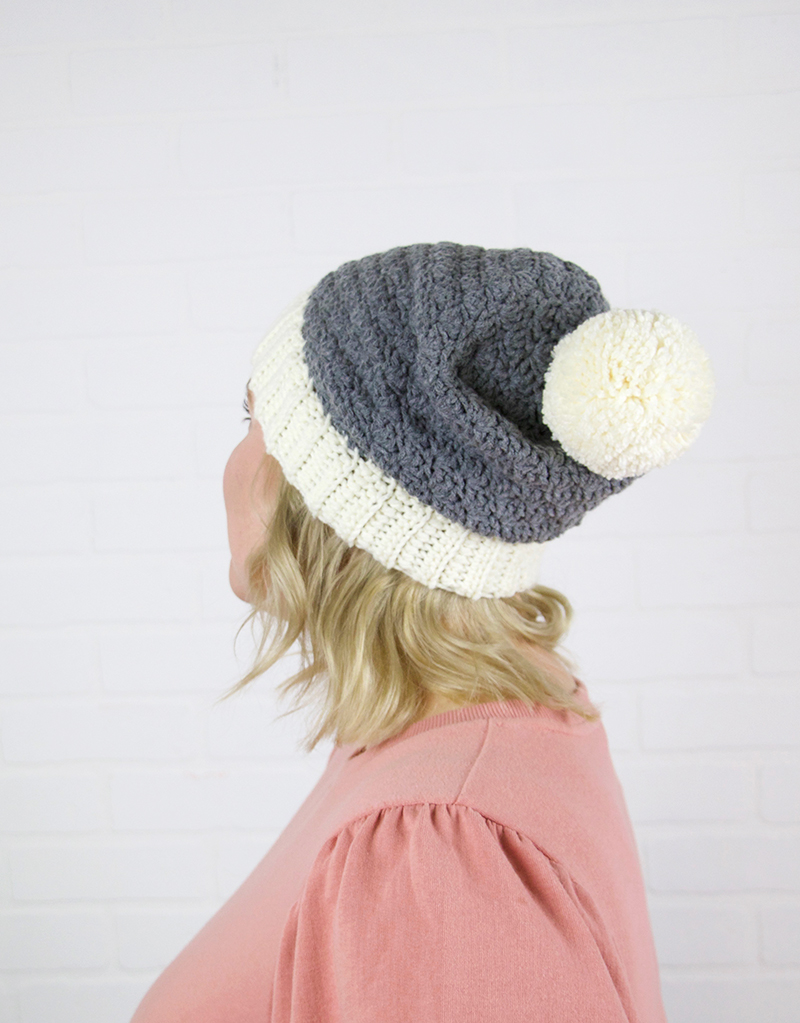 slouch shell crochet hat pattern back