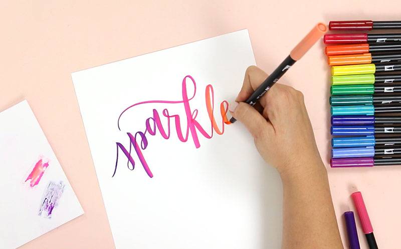 Tombow Brush Lettering Tutorial: How to Blend Tombow Markers