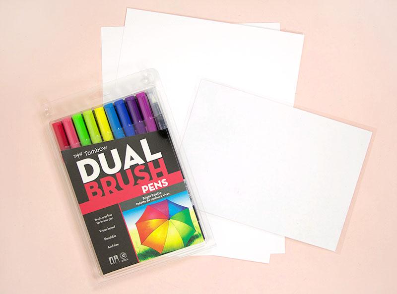 tombow brush pen tutorial supplies