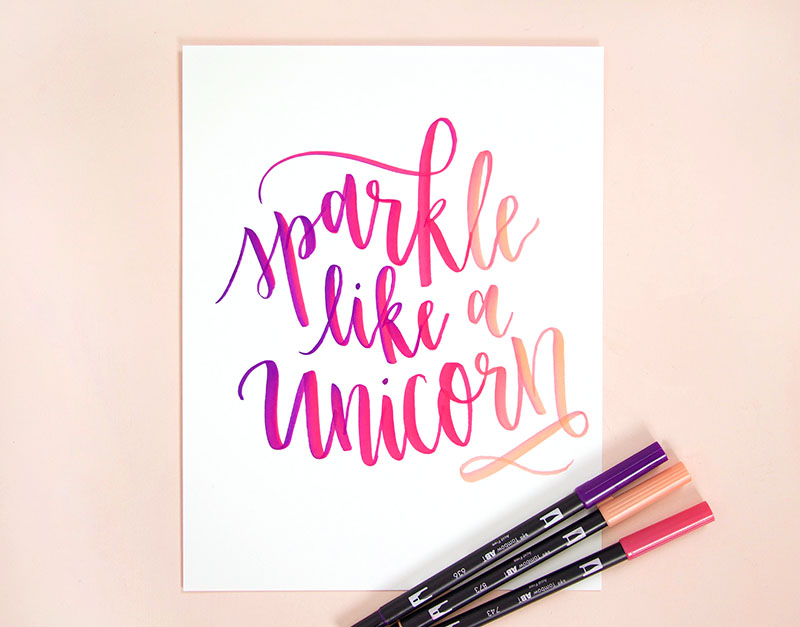 sparkle like a unicorn brush lettering