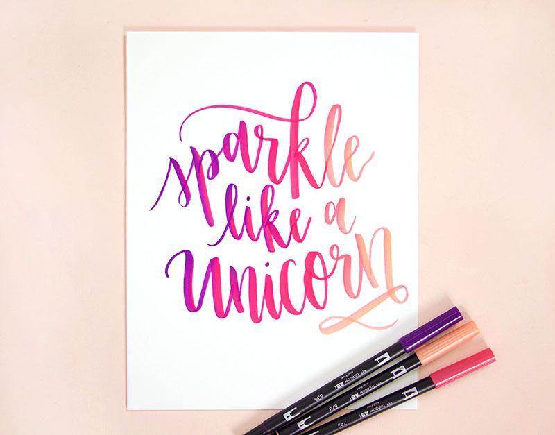 sparkle like a unicorn brush lettering