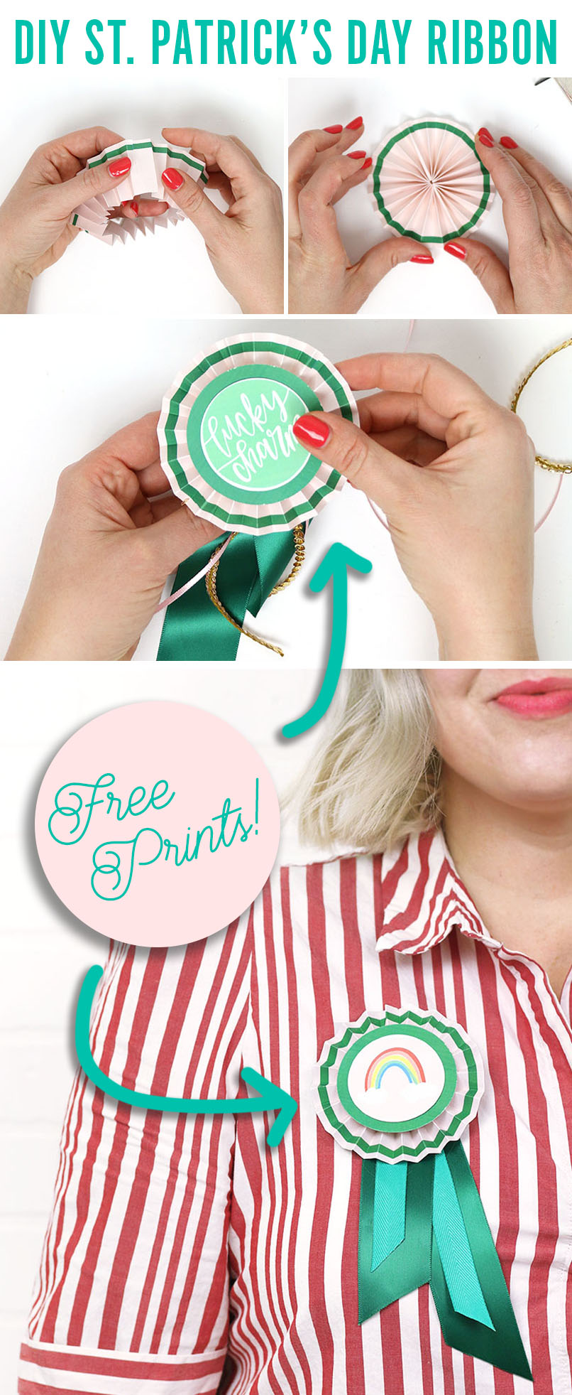 Free Printable St. Patrick's Day Pinch Proof Ribbons - Make your own paper rosette pins for St. Patrick's Day!
