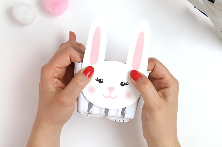 glue bunny face on bunny baskets