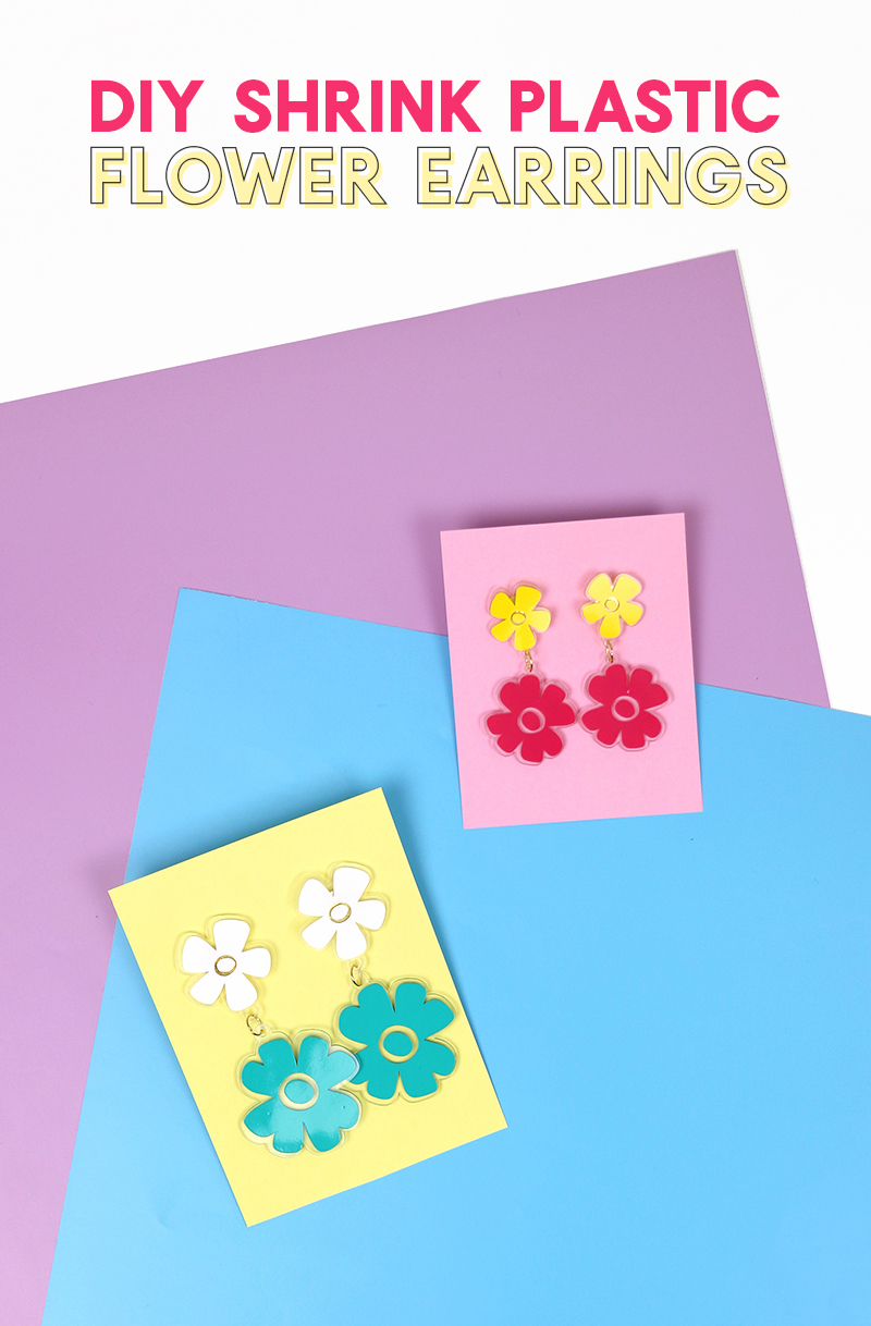 Floral Earrings Handmade Shrink Plastic Earrings