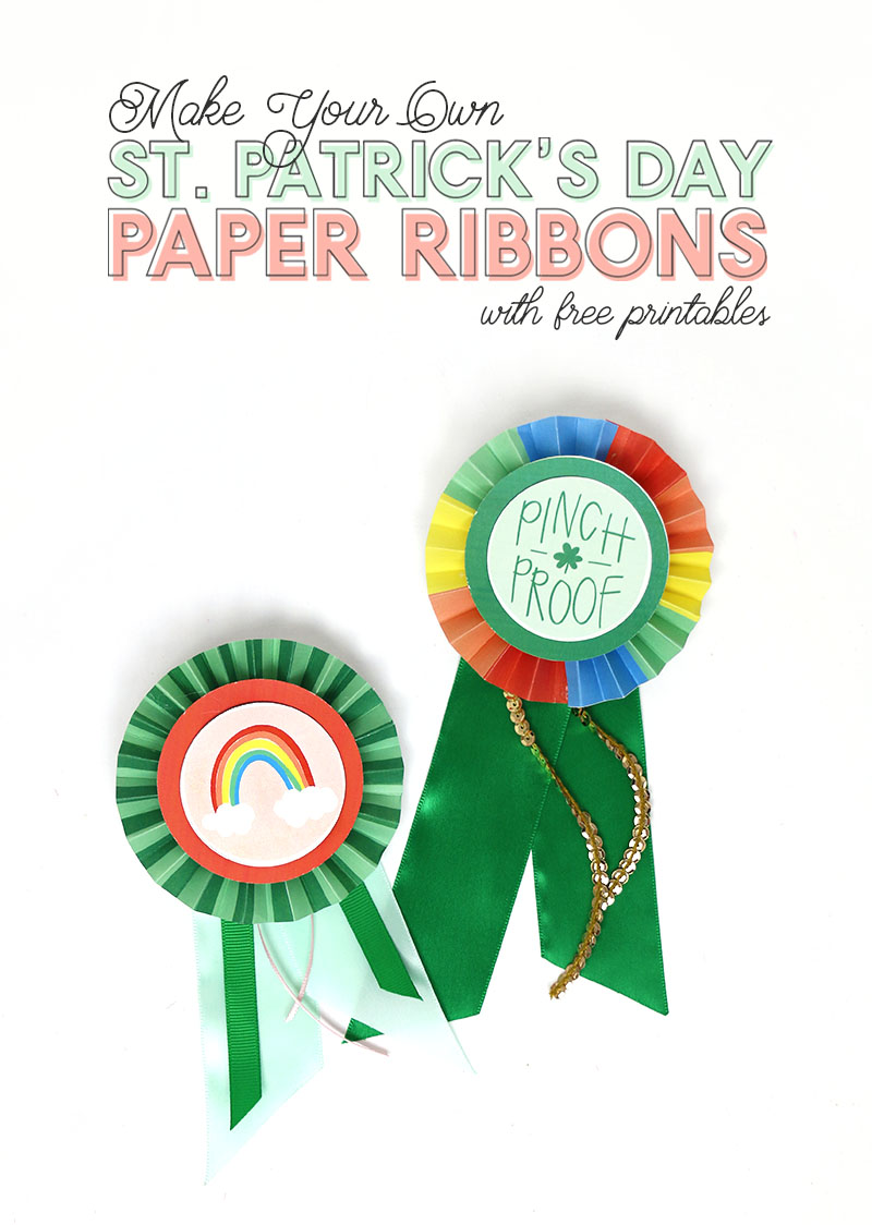 diy st patrick's day paper ribbons with free printables