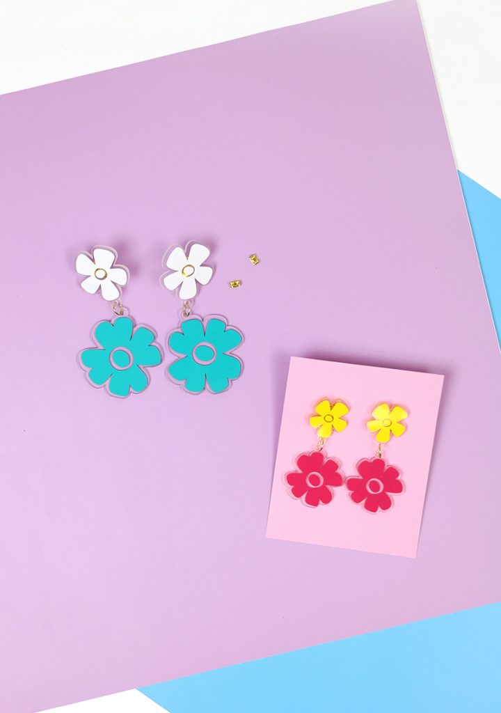 DIY Shrink Plastic Flower Earrings with Free Cut Files