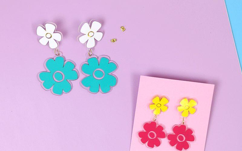 DIY Shrink Plastic Flower Earrings with Free Cut Files